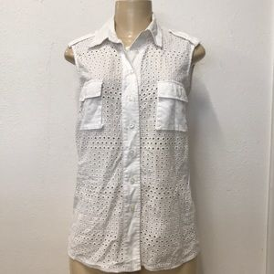Adolfo Dominguez Sleeveless white tunic blouse
